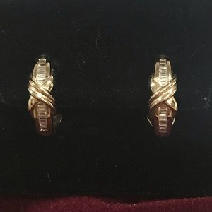 NWOT 14KY Gold Diamond Baguette Earrings